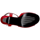 rød lakklær 7,5 cm JENNA-09 store størrelser sandaler dame