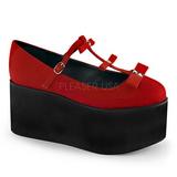 rød lerret 8 cm CLICK-08 lolita sko gothic platåsko tykke såler