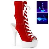 rød neon 15 cm DELIGHT-1016SK canvas joggesko med høye hæler