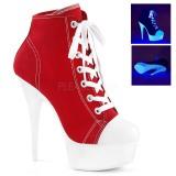 rød neon 15 cm DELIGHT-600SK-02 canvas joggesko med høye hæler