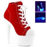 rød neon 18 cm ADORE-700SK-02 canvas joggesko med høye hæler