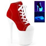 rød neon 20 cm FLAMINGO-800SK-02 canvas joggesko med høye hæler