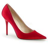 rød satin 10 cm CLASSIQUE-20 dame pumps sko stiletthæl