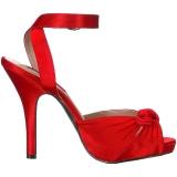rød satin 12,5 cm EVE-01 store størrelser sandaler dame
