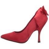 rød satin 12 cm BOMBSHELL-03 dame pumps sko flate hæl