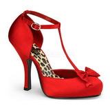 rød satin 12 cm CUTIEPIE-12 dame pumps sko flate hæl