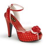 rød satin 12 cm PINUP BETTIE-06 platå høye hæler sko
