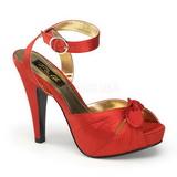 rød satin 12 cm PINUP COUTURE BETTIE-04 platå høye hæler sko
