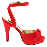 rød satin 12 cm PINUP COUTURE retro vintage BETTIE-04 platå høye hæler sko