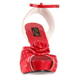 rød satin 12 cm PINUP retro vintage BETTIE-06 platå høye hæler sko