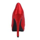 rød satin 13,5 cm BELLA-12R strass platform pumps sko