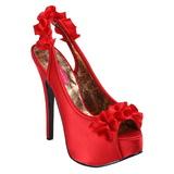 rød satin 14,5 cm Burlesque TEEZE-56 platå høyhælte sandaler sko