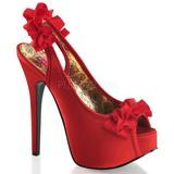 rød satin 14,5 cm TEEZE-56 platå høyhælte sandaler sko