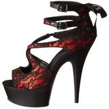 rød satin 15 cm Pleaser DELIGHT-678LC platå høye hæler sko
