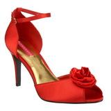 rød satin 9,5 cm ROSA-02 dame sandaletter lavere hæl