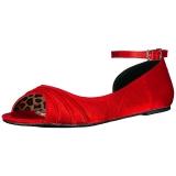 rød satin ANNA-03 store størrelser ballerina sko