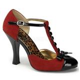 rød semsket 10 cm SMITTEN-10 Rockabilly dame pumps med lave hæl