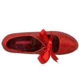 rød strass 14,5 cm Burlesque TEEZE-04R høye platform pumps sko