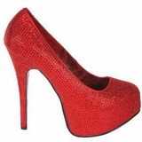 rød strass 14,5 cm Burlesque TEEZE-06R høye platform pumps sko