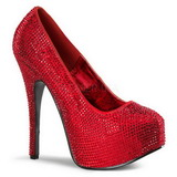 rød strass 14,5 cm TEEZE-06R høye platform pumps sko