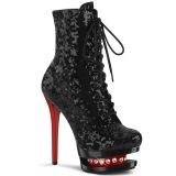 rød svart 15,5 cm BLONDIE-R-1020 platå ankelstøvletter med snøring i paljetter