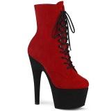 rød svart 18 cm ADORE-1020FSTT høyhælte ankelstøvletter - pole dance støvletter