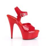 røde høye hæler 15 cm DELIGHT-608N JELLY-LIKE strekkmateriale platå høye hæler