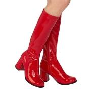 røde lakkstøvler blokkhæl 7,5 cm - 70 tallet støvler hippie disco gogo - knehøye boots