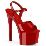 røde platåsandaler 18 cm PASSION-709 høyhælte sandaler