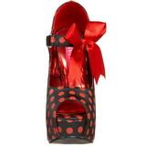 røde punkter 14,5 cm Burlesque TEEZE-25 svarte pumps sko med hæl