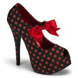 røde punkter 14,5 cm TEEZE-25 svarte pumps sko med hæl