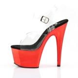 rødt krom platå 18 cm Pleaser ADORE-708 høyhælte sandaler til poledance