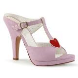 rosa 10 cm retro vintage SIREN-09 høyhælte slipper sko