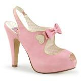 rosa 11,5 cm BETTIE-03 pinup pumps sko med skjult platå