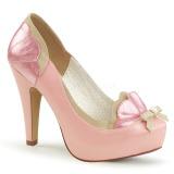 rosa 11,5 cm retro vintage BETTIE-20 pinup pumps sko med skjult platå