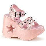 rosa 13 cm Demonia DYNAMITE-02 lolita sandaler med kilehæler