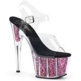 rosa 18 cm ADORE-708CG glitter platå høye hæler dame