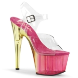 rosa 18 cm ADORE-708MCT akryl platå høye hæler dame