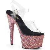 rosa 18 cm ADORE-708MSLG glitter platå sandaler dame