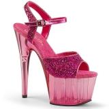rosa 18 cm ADORE-710GT glitter platå høye hæler dame