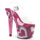 rosa 18 cm LOVESICK-708HEART høye damesko med hæl glitrende steiner