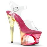 rosa 18 cm MOON-708MCT akryl platå høye hæler dame