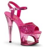 rosa 18 cm MOON-710GT glitter platå høye hæler dame