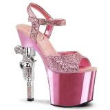 rosa 18 cm Pleaser REVOLVER-709G høye hæler krom platå