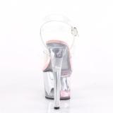 rosa 18 cm SKY-308WHG glitter platå høye hæler dame