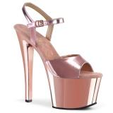 rosa 18 cm SKY-309 krom platå høye hæler