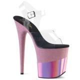 rosa 20 cm FLAMINGO-808-2HGM glitter platå sandaler dame