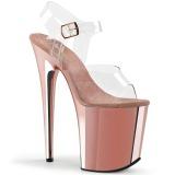 rosa 20 cm FLAMINGO-808 krom platå høye hæler sko