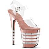 rosa 20 cm FLAMINGO-808CHLN høyhælte sandaler krom platå