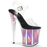 rosa 20 cm FLAMINGO-808HGI hologram platå høye hæler dame